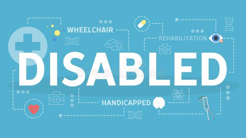 Gehandicapt concept Idee van mensen met diverse handicap royalty-vrije illustratie