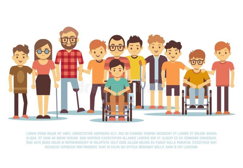 Gehandicapt kind, gehandicapte kinderen, diverse studenten in rolstoel vectorreeks vector illustratie
