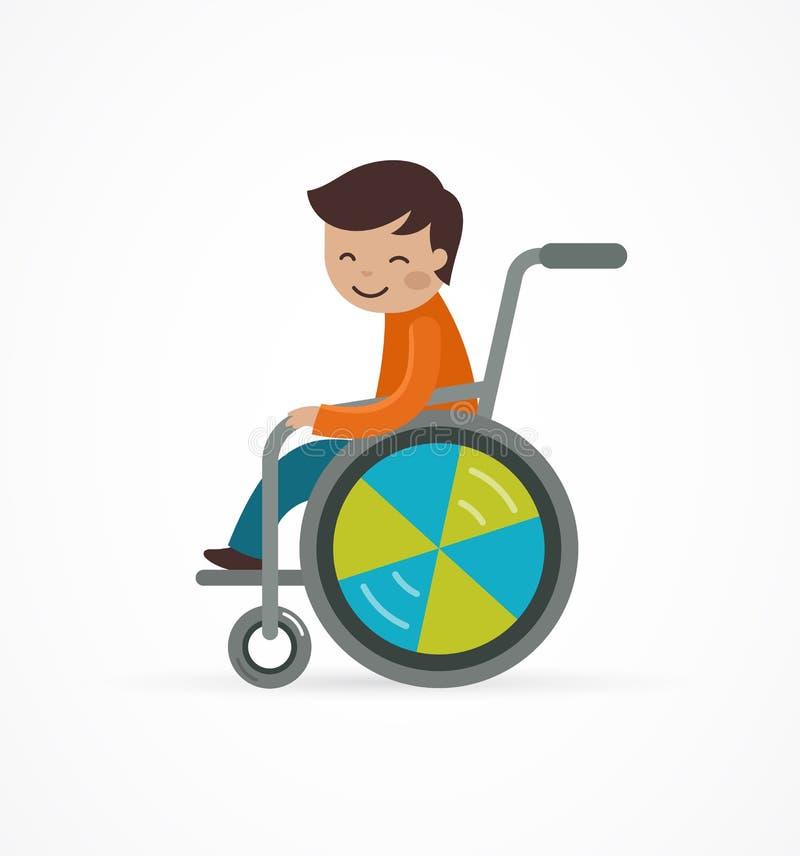 Gehandicapt kind, jongen in een rolstoel royalty-vrije illustratie