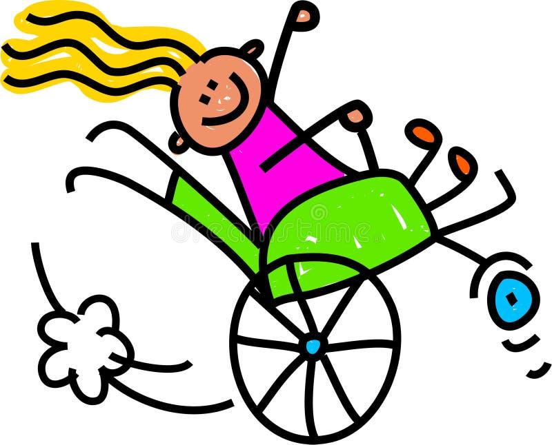 Gehandicapt Wheely-Meisje stock illustratie