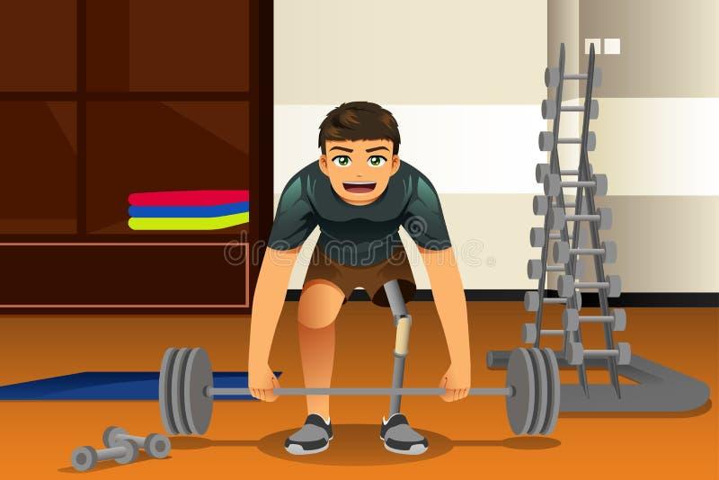 Gehandicapte Atleet Exercising vector illustratie