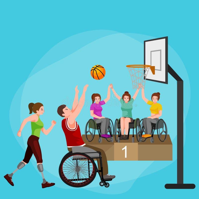 Gehandicapte atleet met protheseconcept, sport voor mensen met prothese, fysische activiteit en de concurrentie stock illustratie