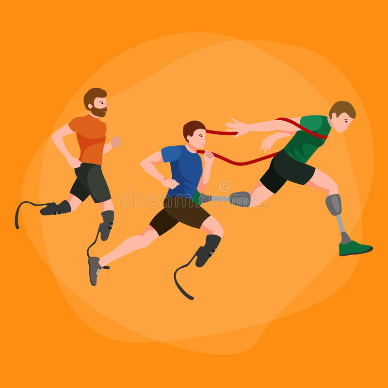 Gehandicapte atleet met protheseconcept, sport voor mensen met prothese, fysische activiteit en de concurrentie vector illustratie