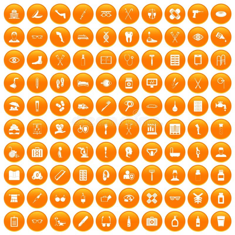 100 gehandicapte gezondheidszorgpictogrammen geplaatst oranje vector illustratie