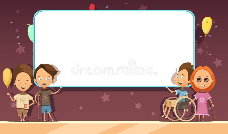 Gehandicapte Jonge geitjes met het Ontwerp van het Bannerbeeldverhaal vector illustratie