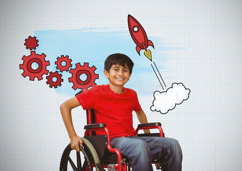Gehandicapte jongen in rolstoel met de grafiek van raketradertjes royalty-vrije stock foto's