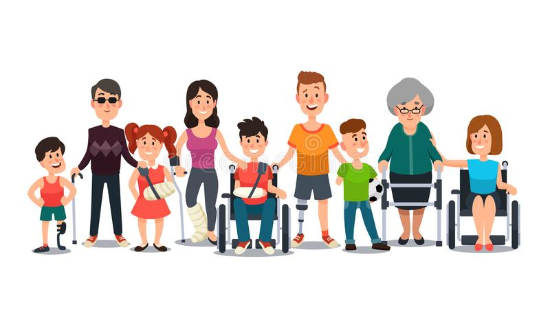 Gehandicapte karakters Mensen met speciale behoeften Student in rolstoel, mens met handicap en bejaarden op steunpilaren royalty-vrije illustratie