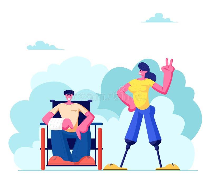 Gehandicapte Man met Gebroken Handzitting op Rolstoel en Vrouw die met Benenprothese, Motivatie in openlucht lopen stock illustratie