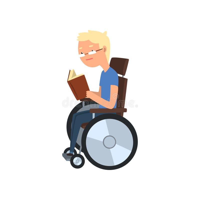 Gehandicapte mens die in rolstoel een boek, rehabilitatie lezen van de vectorillustratie van het gehandicaptenconcept op een wit royalty-vrije illustratie
