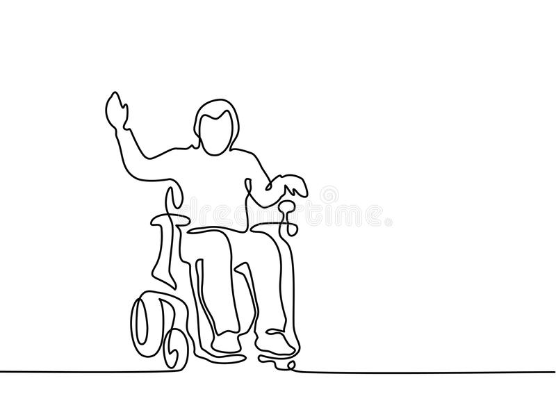 Gehandicapte mens op elektrische rolstoel royalty-vrije illustratie