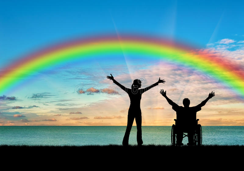 Gehandicapte persoon met een verpleegster, gelukkige regenboog stock afbeelding