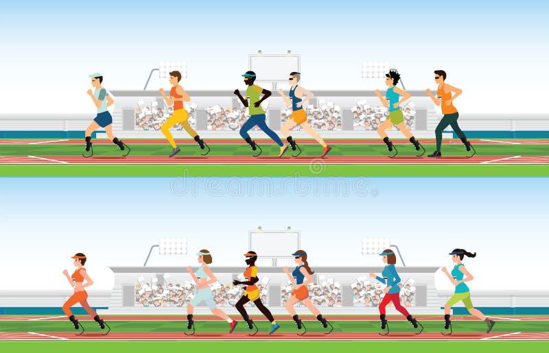 Gehandicapte sprinter met prothetisch been die op rasspoor lopen royalty-vrije illustratie