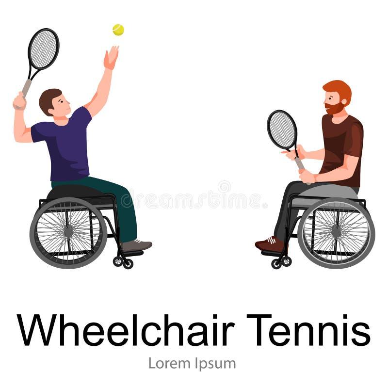 Gehandicapte van de het Tennissport van Atletenon wheelchair play de Concurrentievector stock illustratie