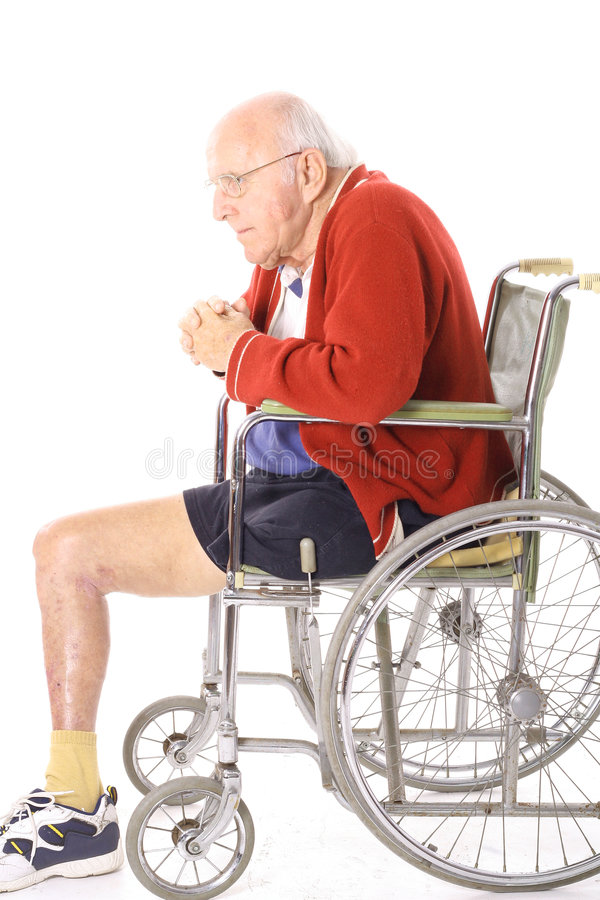 Gehandicapte veteraanmens in rolstoel royalty-vrije stock afbeelding