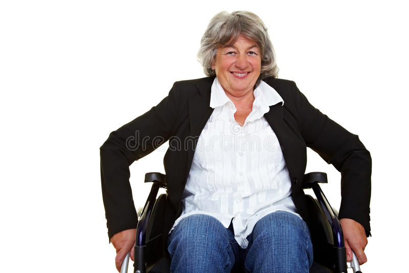 Gehandicapte vrouw in rolstoel royalty-vrije stock fotografie