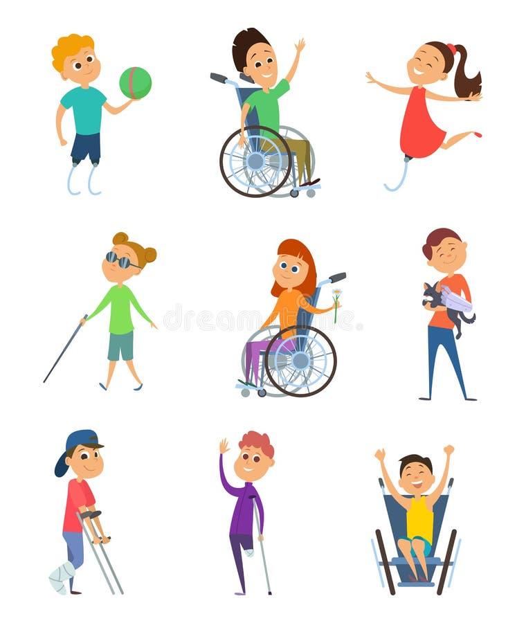 Gehandicapten Rolstoel voor jonge geitjes Kinderen met handicap Vectorkarakters in beeldverhaalstijl stock illustratie