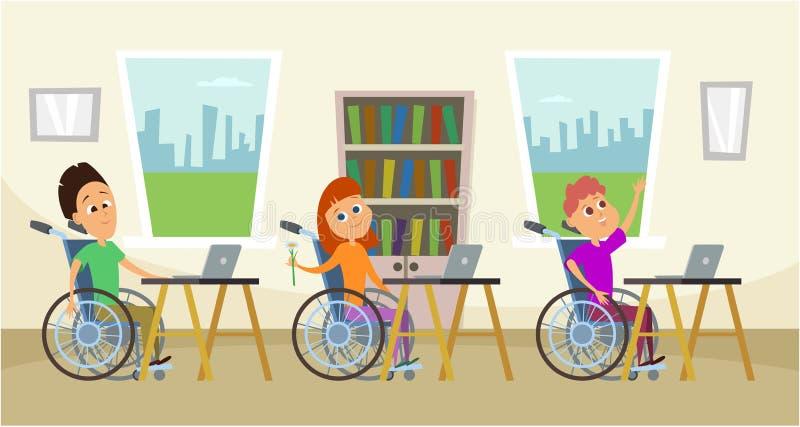 Gehandicapten in rolstoel zitting bij de schoolbank Jonge geitjes in school Illustratie van onderwijs vector illustratie