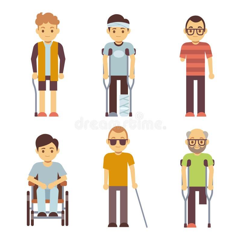Gehandicapten vectorreeks Oude en jonge ongeldige personen stock illustratie