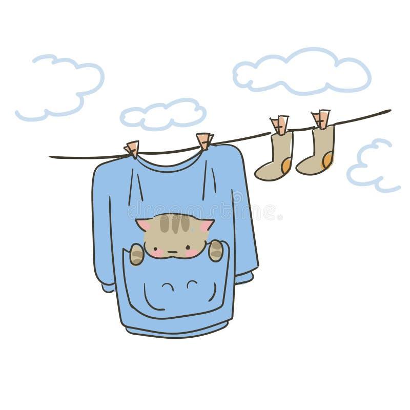 Gehangen kleren van de krabbel de leuke weinig kat vector vector illustratie