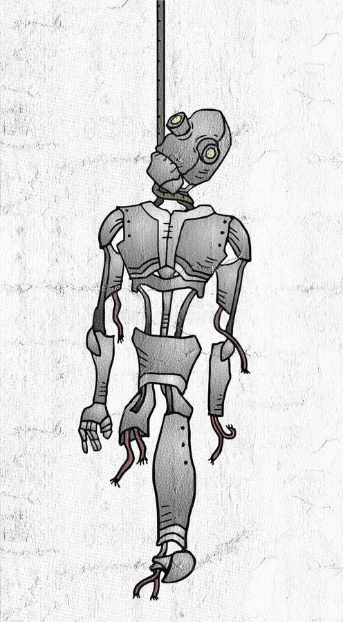 Gehangen robot stock illustratie