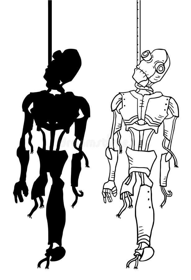 Gehangen robotillustratie royalty-vrije illustratie
