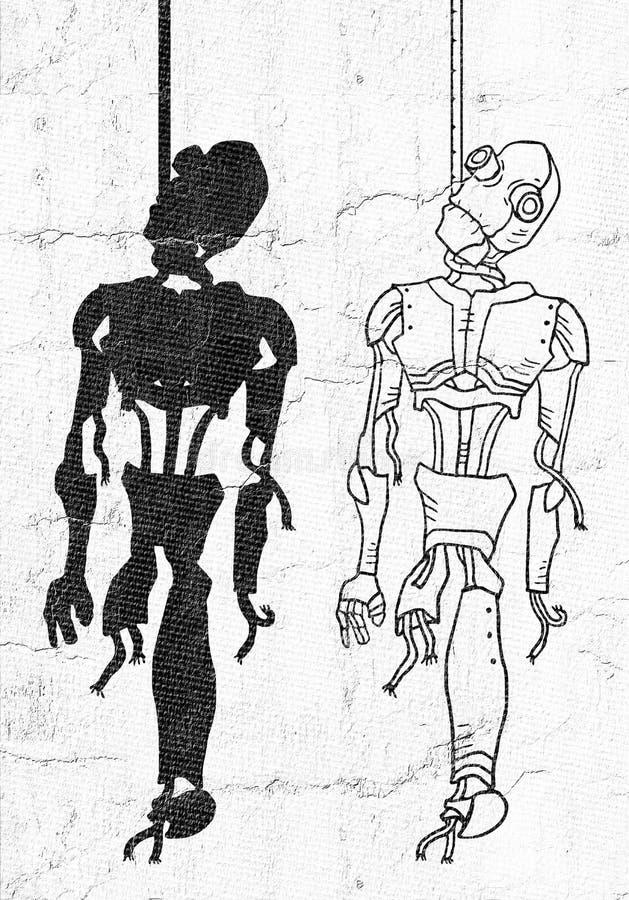 Gehangen robotillustratie vector illustratie