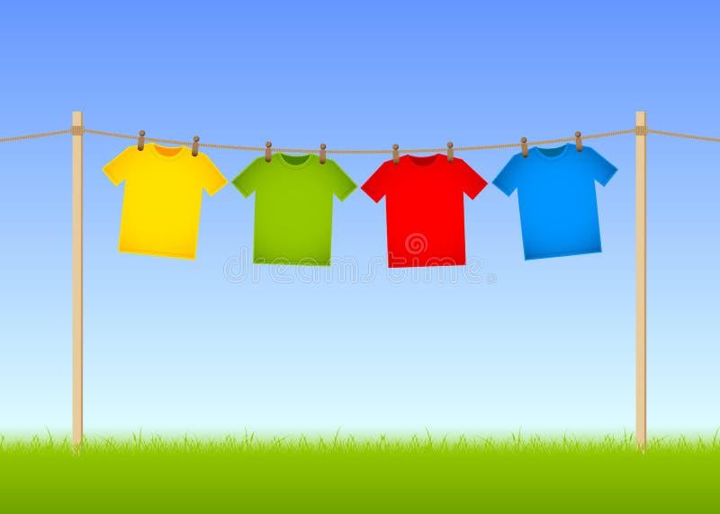 Gehangen T-shirts stock illustratie