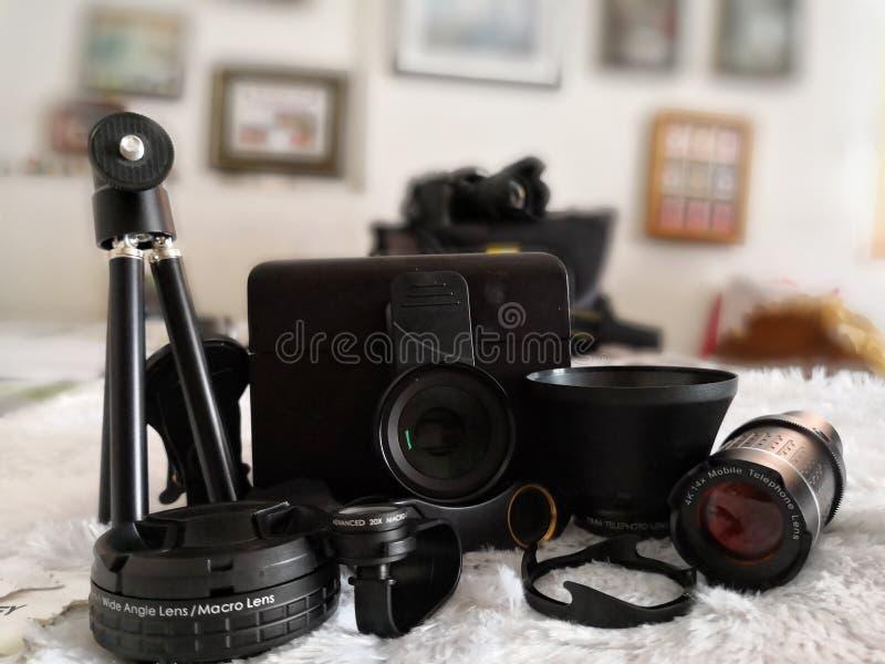 Gehechtheidslenzen voor mobiele telefooncamera stock foto