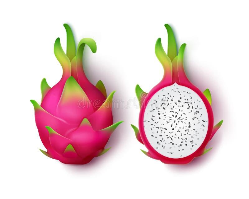 Geheel en gesneden draakfruit royalty-vrije illustratie