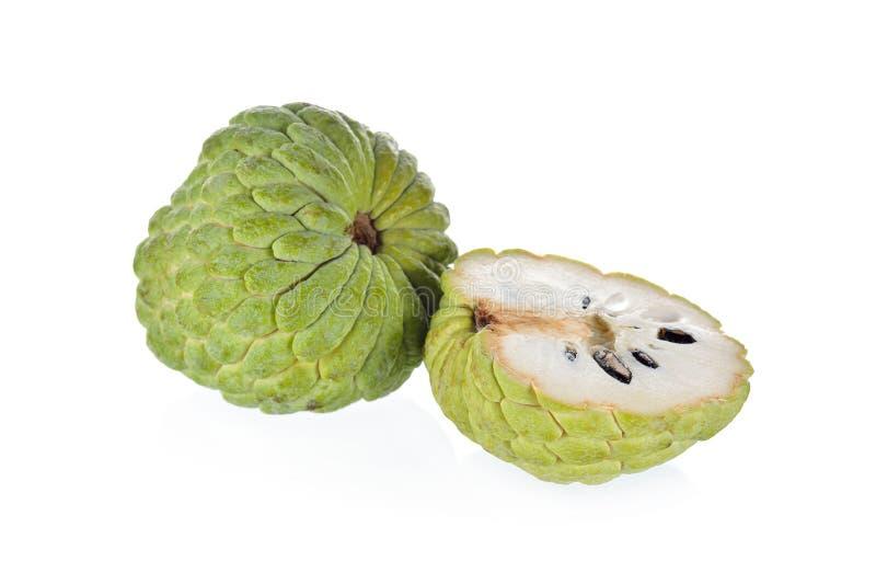 Geheel en half de appelfruit van de besnoeiingsvla op witte achtergrond stock foto