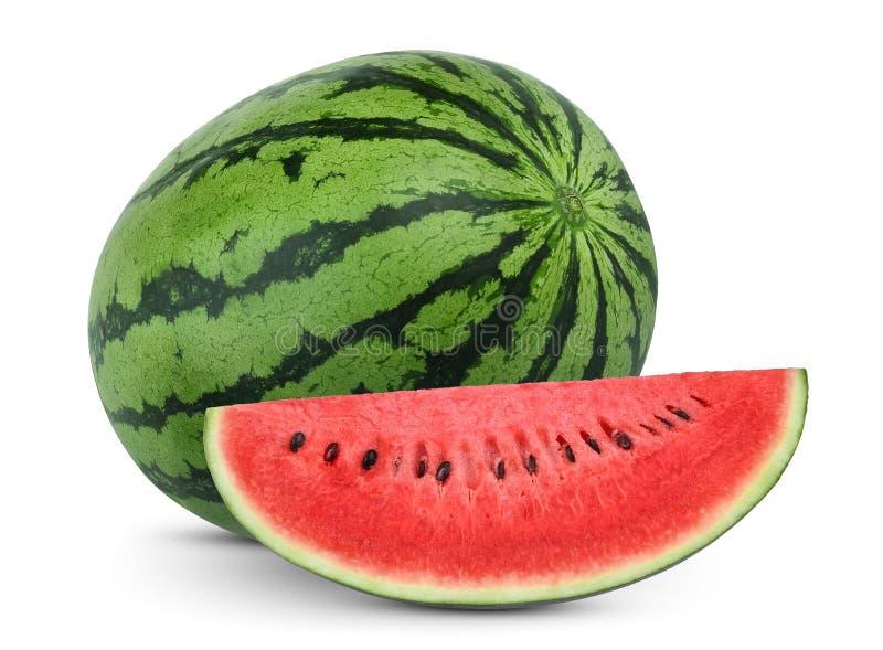 Geheel en van de plakkenwatermeloen fruit dat op wit wordt geïsoleerd royalty-vrije stock afbeeldingen