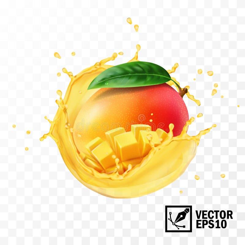 Geheel en van de stukkenmango fruit met blad in een plons van sap met dalingen, 3D realistisch geïsoleerd vector, editable met de stock illustratie