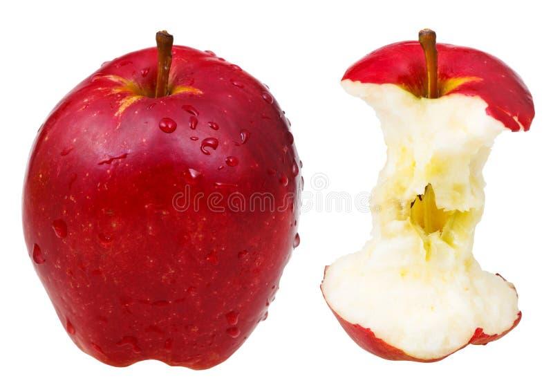 Geheel rood - heerlijke appel en zijn kern royalty-vrije stock foto's