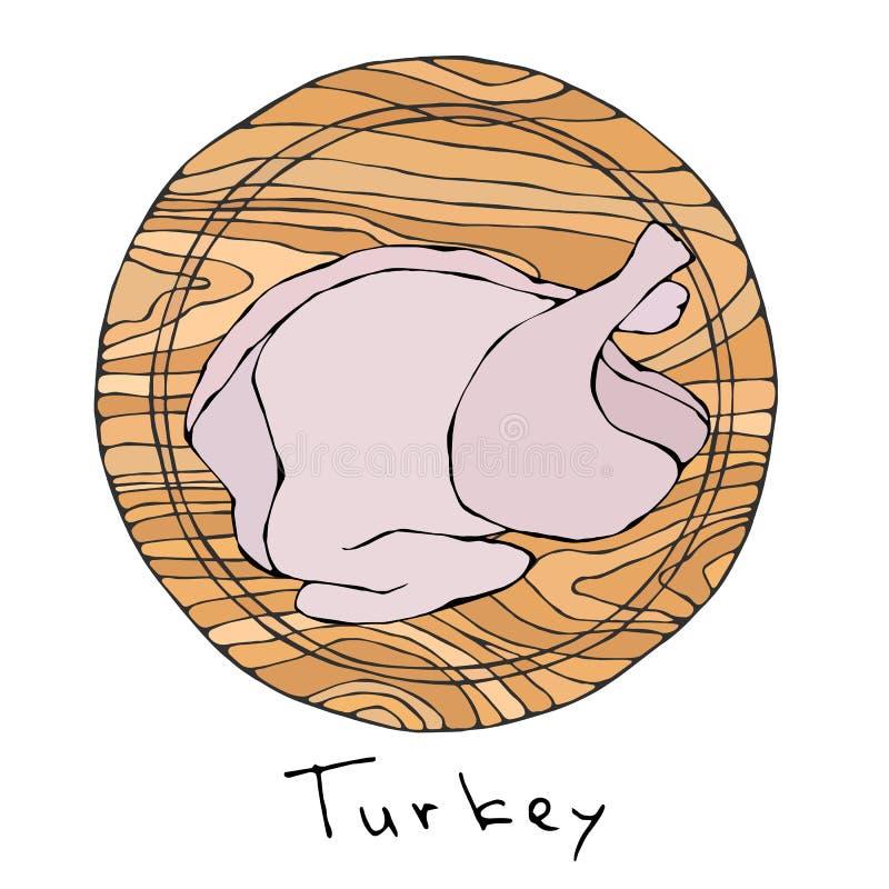 Geheel Ruw Turkije, Kippenkarkas op Ronde Scherpe Raad Voor het Koken, Kerstmis van de Vakantiemaaltijd, Dankzegging, Recepten, V royalty-vrije illustratie
