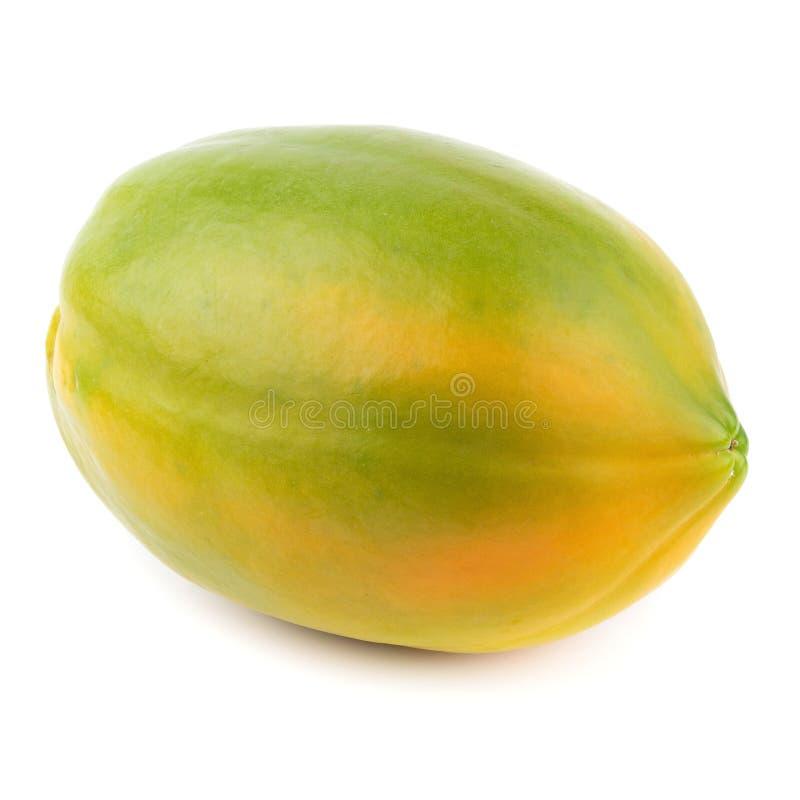 Geheel van rijp die papajafruit op witte achtergrond wordt geïsoleerd stock foto