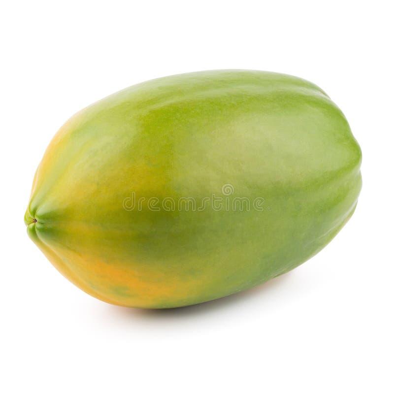 Geheel van rijp die papajafruit op witte achtergrond wordt geïsoleerd stock foto's