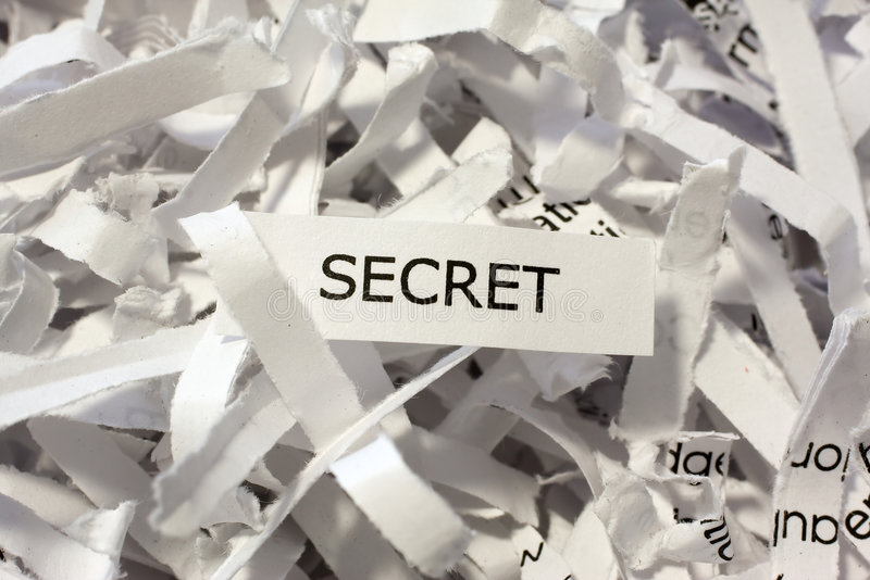 Geheim verscheurde documenten stock foto
