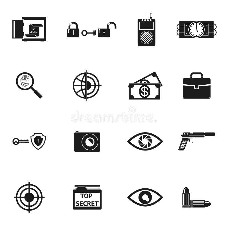 Geheimagent Accessories Icons vektor abbildung