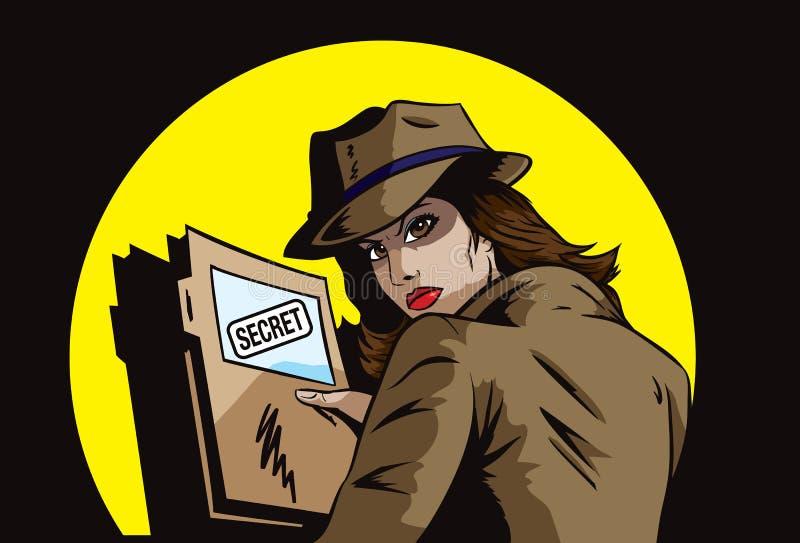 Geheimagent met plannen royalty-vrije illustratie