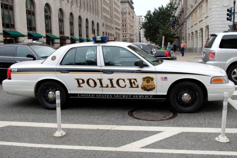 Geheimagent-Polizeiwagen im Washington DC stockfotografie