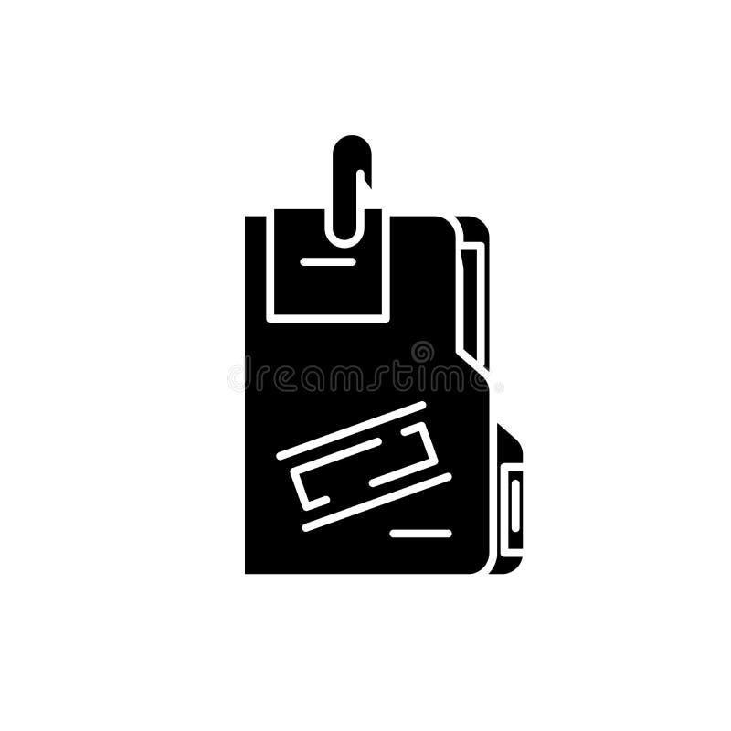 Geheime Archivschwarzikone, Vektorzeichen auf lokalisiertem Hintergrund Geheimes Archivkonzeptsymbol, Illustration vektor abbildung