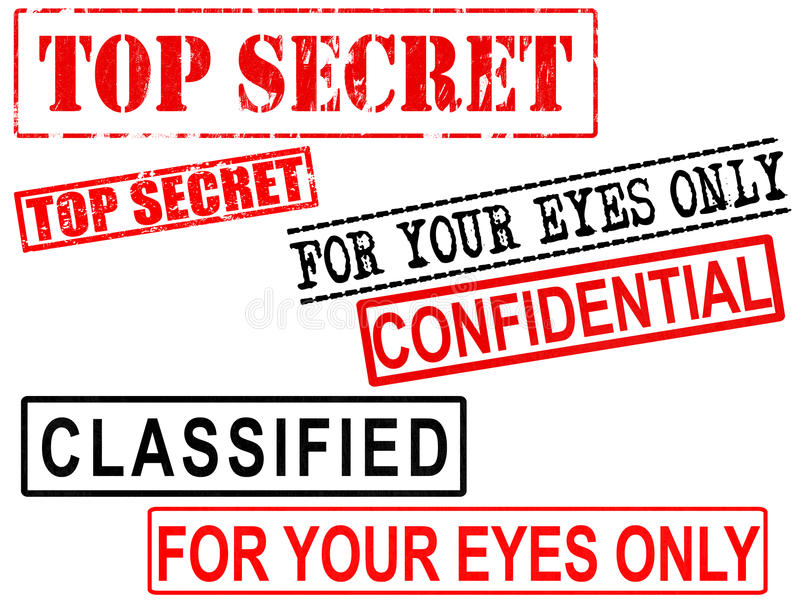 Geheime bovenkant -, Vertrouwelijk, Geclassificeerd de Tekens van Dossiergrunge stock illustratie