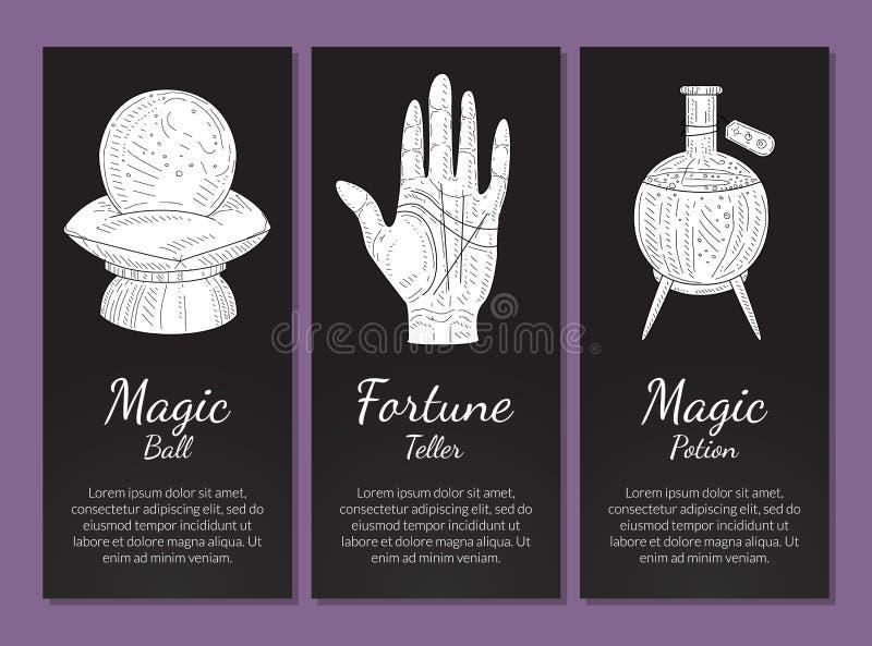 Geheime Fahnen-Schablonen stellten, magischer Ball, Wahrsager, Zaubertrank, philosophische, geheimnisvolle, mystische Symbole ein stock abbildung