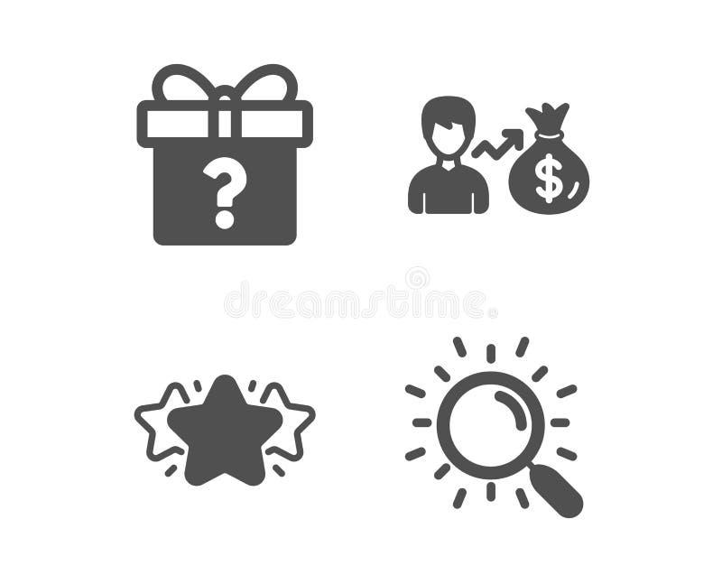 Geheime gift, Ster en Sallary-pictogrammen Onderzoeksteken Onbekend pakket, Favoriet, Persoonsinkomens Vind document Vector vector illustratie