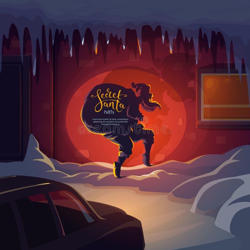 Geheime Santa Claus met Kerstmisgiften royalty-vrije illustratie