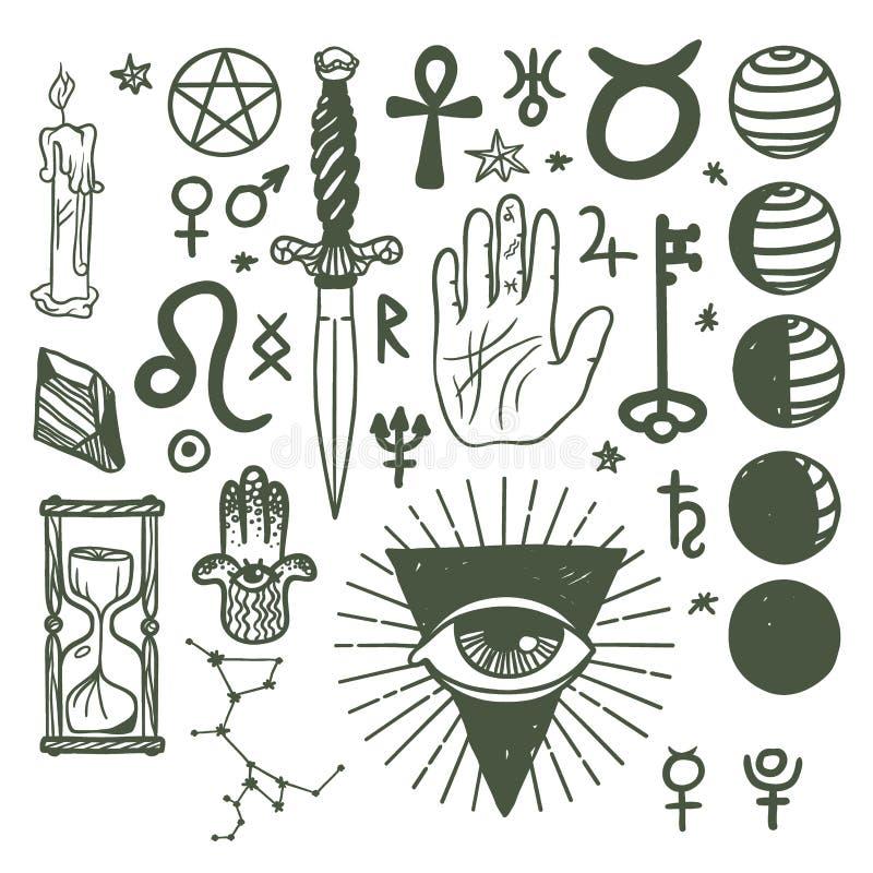 Geheime Symbole des modischen Vektors skizzieren Hand gezeichnete Religionsphilosophiegeistigkeitsokkultismuschemie-Wissenschafts lizenzfreie abbildung