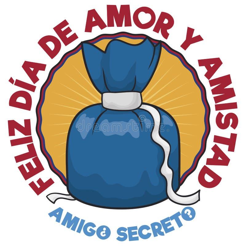 Geheime Vriendengift voor Columbiaanse Dag van Liefde en Vriendschap, Vectorillustratie vector illustratie