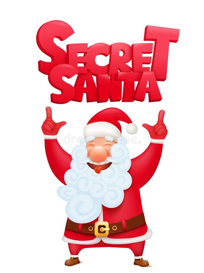 Geheime Weihnachtsmann-Zeichentrickfilm-Figur-Einladungs-Konzeptkarte stock abbildung