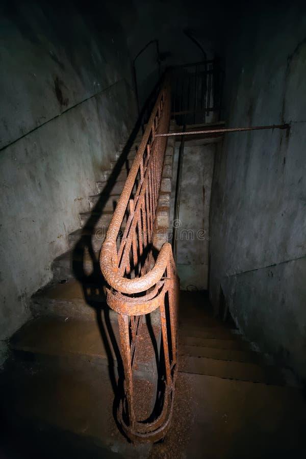 Geheimer kommunistische Partei-Kernbunker und Schutz - Treppe stockfotos