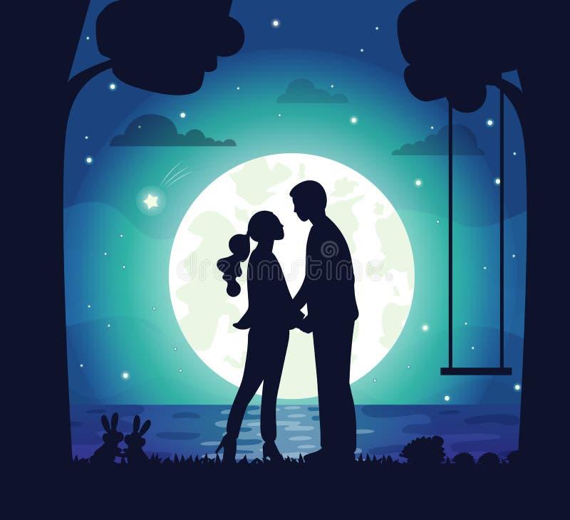 Geheimes Datum von Paaren, von Mann und von Frau nachts stock abbildung